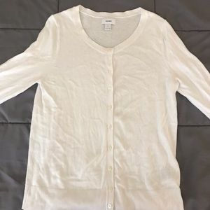 Old Navy White Feminine Button Up Cardigan